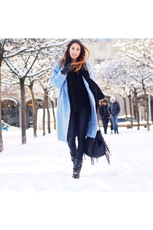 black leather Minelli boots - sky blue wool Maje coat - black knit Zara sweater