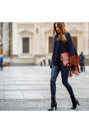 navy Helmut Lang pants - black Hugo Boss boots - burnt orange Chloe bag