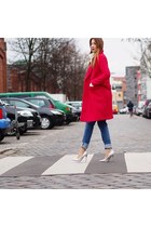 red wool asos coat - blue denim H&M jeans - beige knit H&M sweater