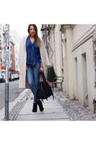 sky blue denim H&M jeans - black suede Minelli boots