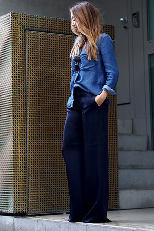 blue abercrombie and fitch shirt - navy Zara pants - tawny RED valentino wedges