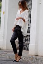white COS shirt - black Jades24 pants - black Jimmy Choo heels