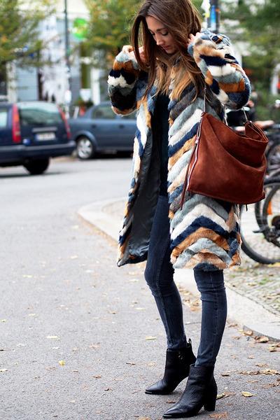brick red Urbancode coat - black acne boots - dark gray Zara jeans