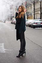 black leather Bruno Premi boots - dark green knit H&M sweater