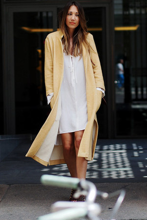 eggshell Zara dress - mustard Zara coat - crimson leather Chloe bag