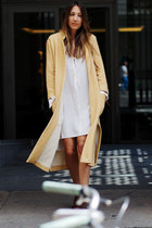 eggshell Zara dress - mustard Zara coat - crimson leather Chloe bag