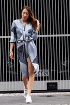 white Adidas sneakers - sky blue ASOS WHITE dress