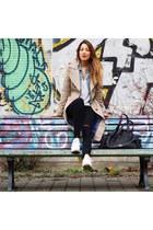 light blue Pepe Jeans jacket - beige Drykorn coat - black denim Zara jeans