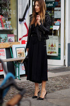 black Michael Kors jacket - black Hugo Boss bag - black vintage romper