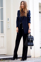 black Hugo Boss boots - navy Reiss blazer - black Hugo Boss bag
