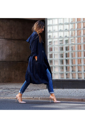 navy G-Star coat - blue denim H&M jeans - white cotton H&M top