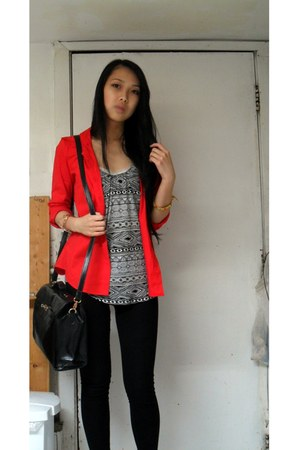 gold Forever 21 bracelet - black Fairweather bag - red joe blouse