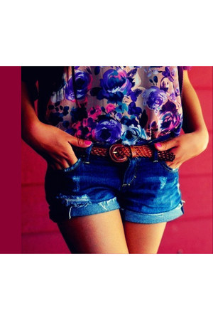 blue blue shorts shorts - floral top blouse - crimson belt