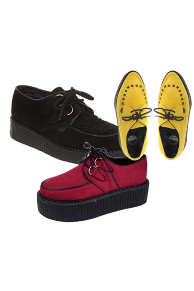 brick red creepers shoes - black creepers shoes - yellow creepers shoes