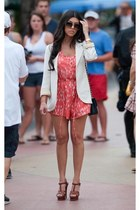 coral free people - ivory Urban Outfitters blazer - brown Yves Saint Laurent sho