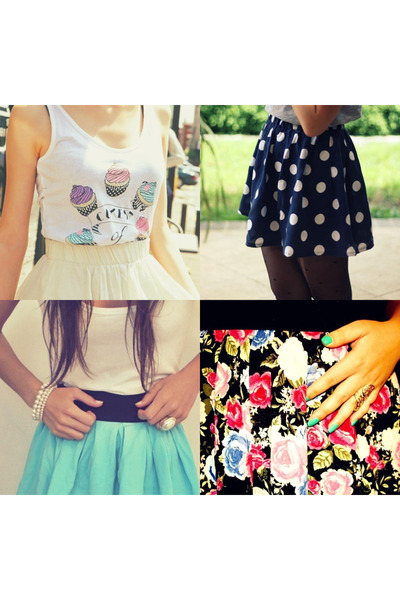 peach skirt - navy skirt - aquamarine skirt - black skirt