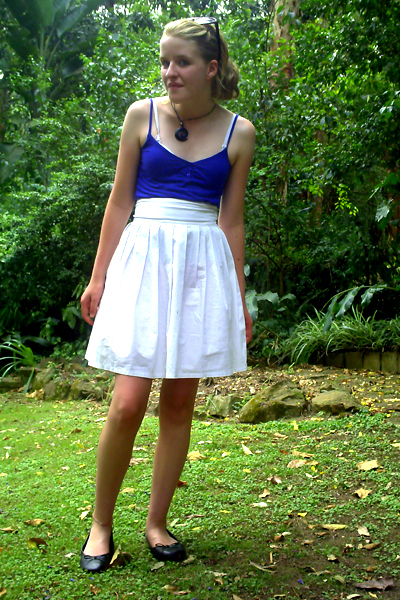 blue cotton on shirt - white thrifted skirt - black Big-W shoes - black Hippy Sh