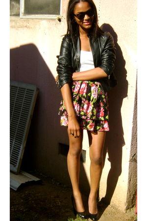 black Forever 21 jacket - white shirt - black shoes - red Target skirt - black s
