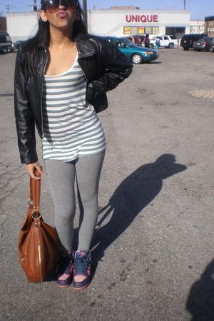 Wilson via Thrift jacket - Hollister Leggins pants - H&M purse - adidas shoes -