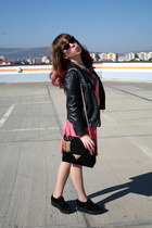 black new look shoes - hot pink Guess dress - black Zara jacket