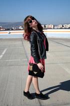 black new look shoes - hot pink Guess dress - black Zara jacket