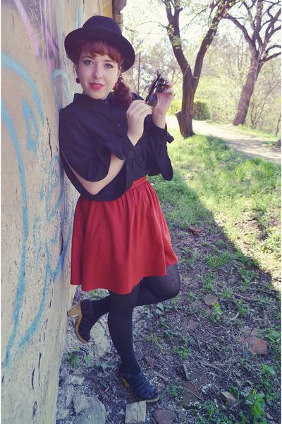 red Zara skirt - black Zara jacket - black Choies shirt - black H&M tights