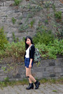 Leather-clarks-boots-denim-h-m-shorts-black-tokyo-fashion-cardigan