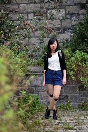 leather Clarks boots - denim H&M shorts - black Tokyo Fashion cardigan