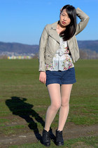 faux leather H&M jacket - gmarket boots - denim H&M shorts - from mother  top