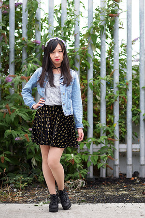 denim Primark jacket - grey Tokyo Fashion t-shirt - cross patterned Taobao skirt
