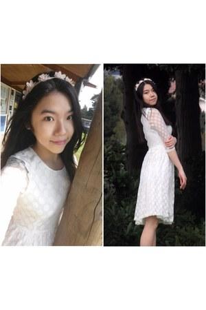white Topshop dress - peach accessories