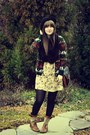 Gold-anthropologie-dress-dark-green-thrifted-sweater-black-thrifted-scarf-