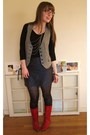 Red-vintage-boots-silver-forever-21-necklace-gray-thrifted-vest-black-targ