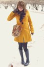 Yellow-tulle-coat-blue-thrifted-scarf-brown-vintage-earthbags-purse-blue-u
