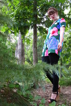 green vintage dress - white vintage accessories - black Nordstrom Rack leggings