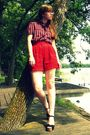 Red-vintage-thrifted-shorts-black-nordstrom-shoes-black-vintage-blouse-pur