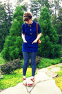 Blue-thrifted-blouse-blue-nordstrom-rack-leggings-gold-thrifted-earrings-b