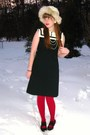 White-thrifted-hat-black-vintage-dress-red-express-tights-black-urban-outf