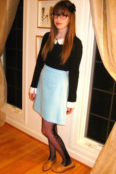brown vintage shoes - black Forever 21 tights - blue vintage skirt - black thrif