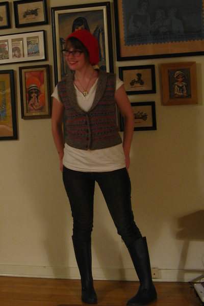 thrifted hat - thrifted necklace - thrifted vest - dita glasses - Urban Outfitte