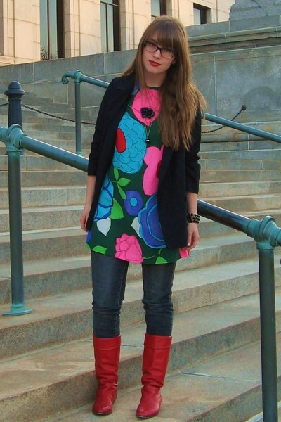 vintage boots - vintage dress - urban outiftters jeans - vintage necklace - BB D