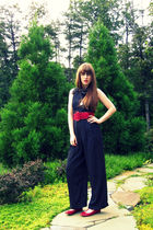 black vintage pants - red thrifted belt - red Urban Outfitters shoes - black thr