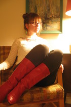 white vintage sweater - red vintage boots - gray Urban Outfitters jeans