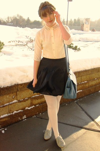 white vintage shirt - gray Steve Madden shoes - white Target tights