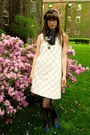 White-anthropologie-dress-black-vintage-scarf-black-target-stockings-blue-