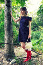blue modcloth dress - white Target socks - red vintage boots - white Vintage thr