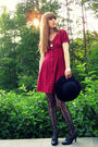 Red-urban-outfitters-dress-black-thrifted-hat-black-target-stockings-black