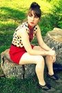 red vintage thrifted shorts - white vintage blouse - black Target accessories -