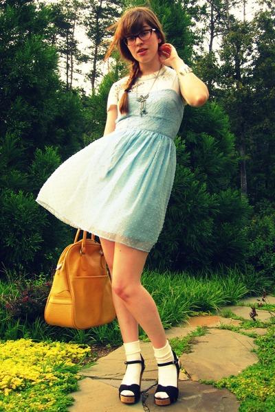 black Nordstrom shoes - blue RFT dress - gold thrifted vintage purse