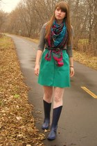 blue thrifted belt - blue Urban Outfitters boots - yellow H&M hat